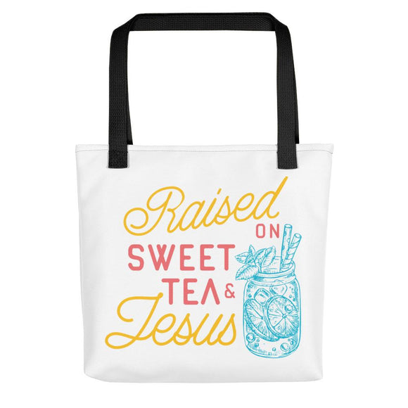 Raised On Sweet Tea & Jesus Tote bag - Flag and Cross