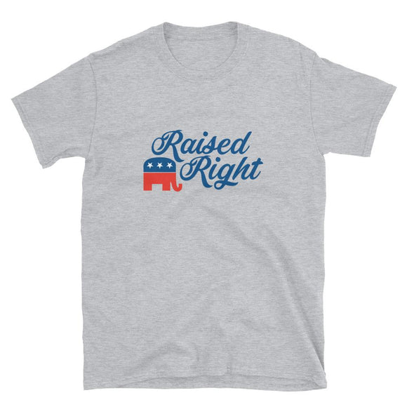 Raised Right Short-Sleeve Unisex T-Shirt - Flag and Cross