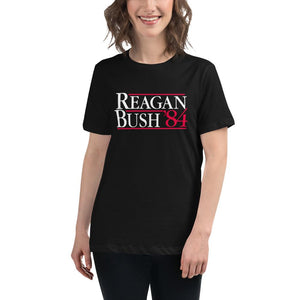 Reagan Bush '84 Women's Relaxed T-Shirt - Flag and Cross