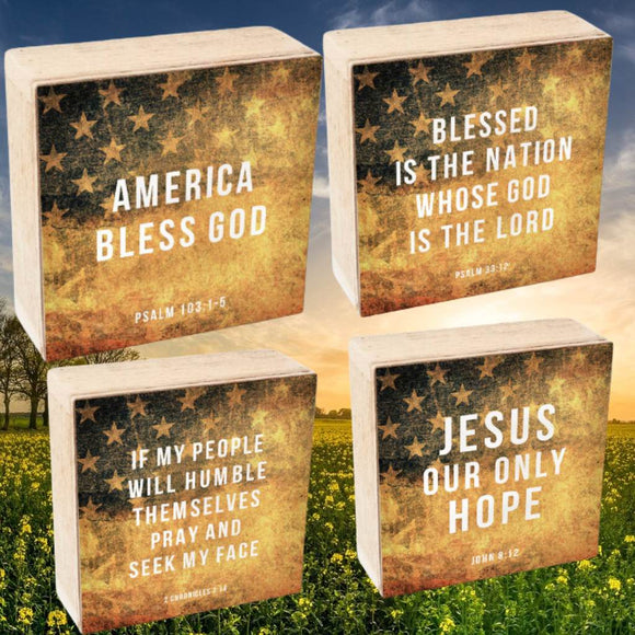 Patriotic Scripture Shelf Sitter Message Blocks (4 Designs)