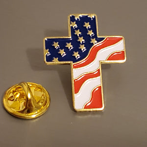 American Flag Filled Cross Gold Plated Lapel Pin