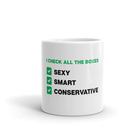 Smart Sexy Conservative Mug - Flag and Cross