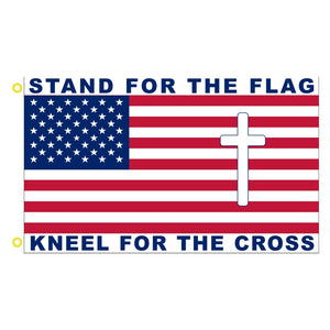 Stand for the Flag, Knee for the Cross 3'x5' 100D Rough Tex®Flag