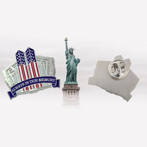 STUNNING LIMITED EDITION: 'Always In Our Memory' 9-11 Remembrance Lapel Pin - Flag and Cross