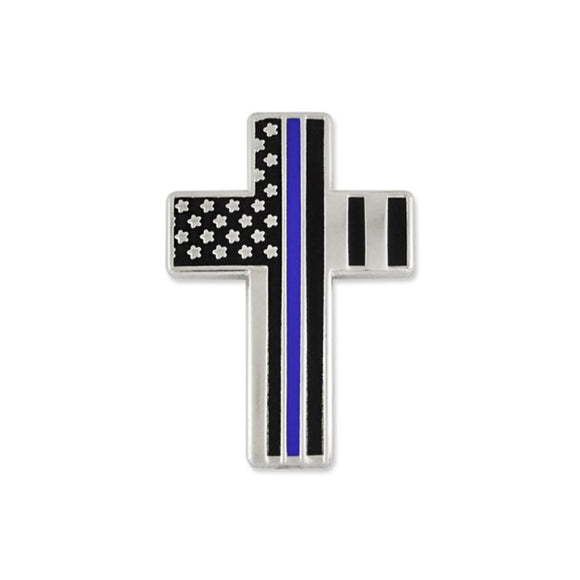 Thin Blue Line Cross Lapel Pin