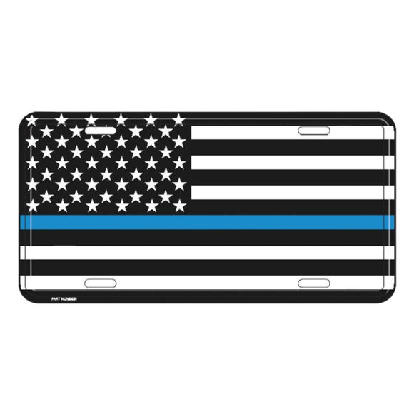 Thin Blue Line American Flag Aluminum License Plate