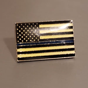 USA Thin Blue Line Police Lapel Pin (Gold Plated, Epoxy Coated, Enamel Filled)