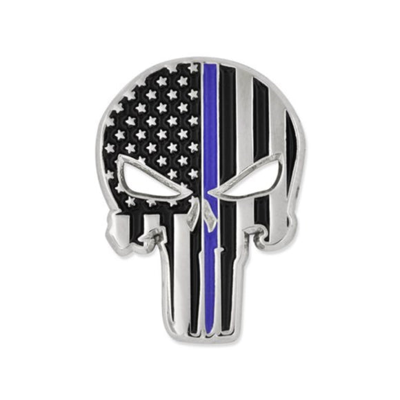 Thin Blue Line Skull Lapel Pin