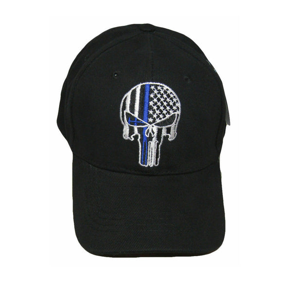Thin Blue Line Skull Hat