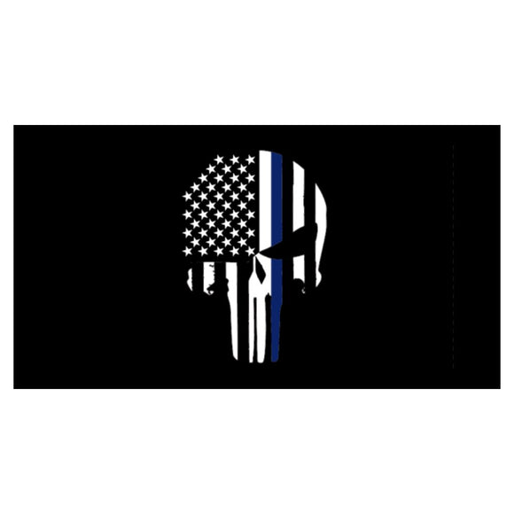 Thin Blue Line Skull Weatherproof Sticker