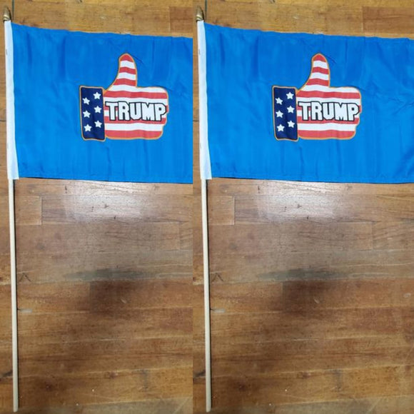 Trump Thumbs Up Stick Flag (2 Pack)
