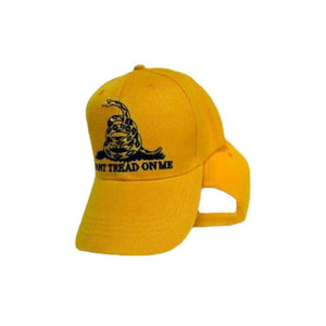 "Traditional Yellow Gadsden ""Don't Tread on Me"" Hat - Flag and Cross"