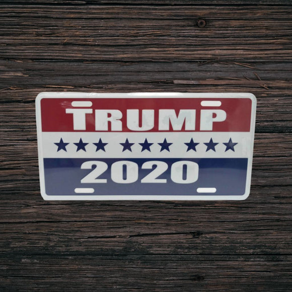 Trump 2020 Embossed Aluminum Vanity Plate - Flag and Cross