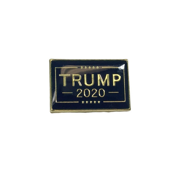 Trump 2020 Enamel Lapel Pin (Dark Blue and Gold) - Flag and Cross