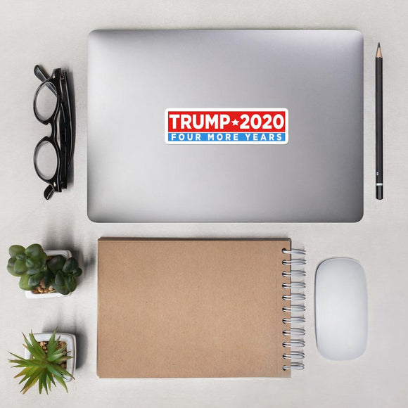 Trump 2020 Four More Years Bubble-free stickers - Flag and Cross
