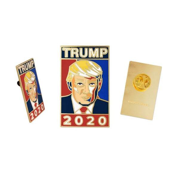 Trump 2020 Gold Plated Cloisonné Enamel Lapel Pin (Limited Edition) - Flag and Cross