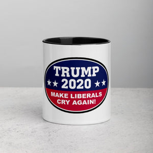 Trump 2020 Make Liberals Cry Again Mug with Color Inside (4 Color Choices) - Flag and Cross
