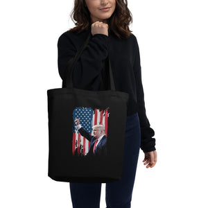 Trump American Flag Eco Tote Bag - Flag and Cross