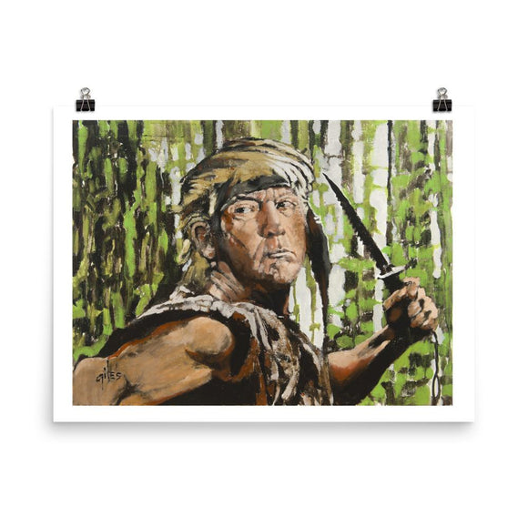 Trump as Rambo Durable Matte Poster - Flag and Cross