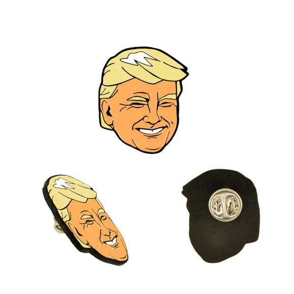 Trump Face Lapel Pin - Flag and Cross