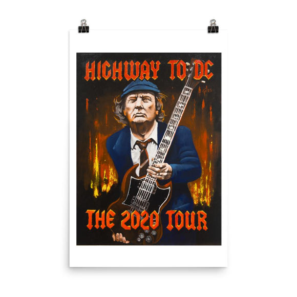 Trump Highway to DC The 2020 Tour Photo Paper Poster - Flag and Cross