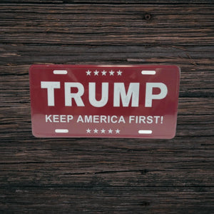 "Trump ""Keep America First"" Embossed Aluminum Vanity Plate - Flag and Cross"