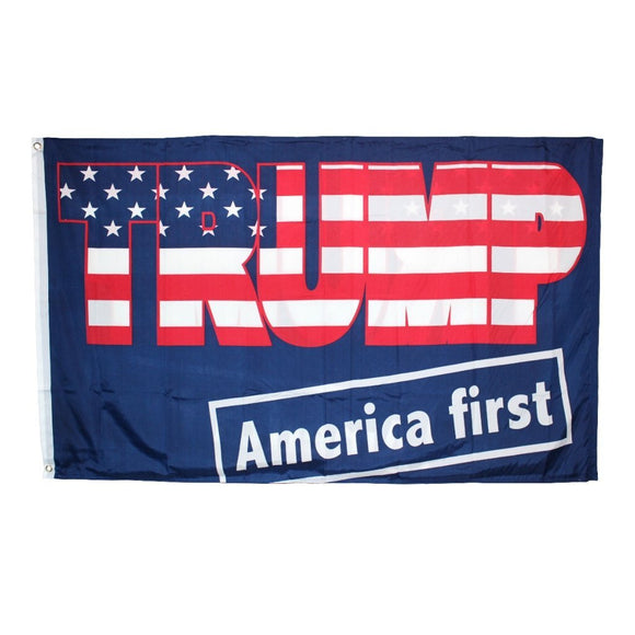 Trump Patriotic America First 3'x5' 100D ROUGH TEX ® Flag - Flag and Cross