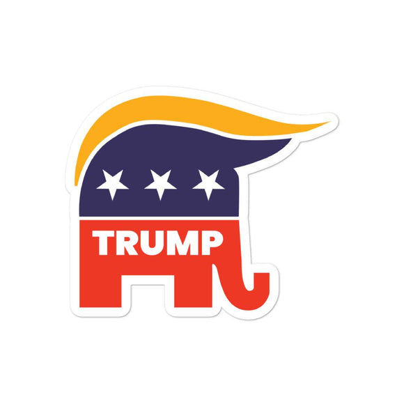 Trump Republican Elephant Bubble-Free Sticker - Flag and Cross