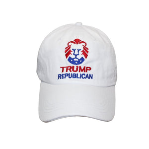Trump Republican Lion Hat (100% Cotton) - Flag and Cross
