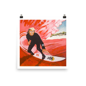 Trump Surfing the Red Wave Photo Paper Poster - Flag and Cross