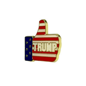 Trump Thumbs Up Patriotic Lapel Pin - Flag and Cross