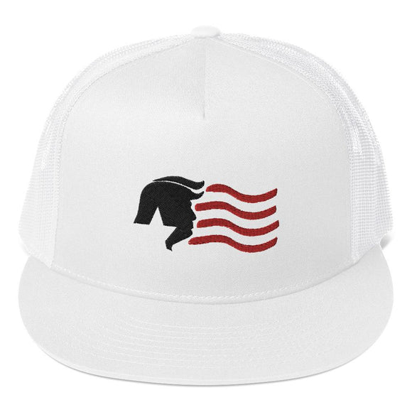 Trump USA Star and Stripes Trucker Cap (Custom Embroidered) - Flag and Cross