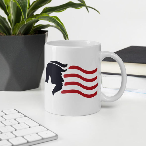 Trump USA Stars and Stripes Ceramic Mug - Flag and Cross