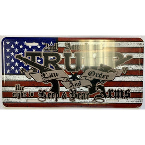 Trump Law and Order Embossed Aluminum License Plate