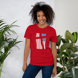 Cross in Flag Unisex Cotton T-Shirt (Distressed Design)