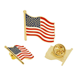United States American Flag Gold Plated Pin - Flag and Cross
