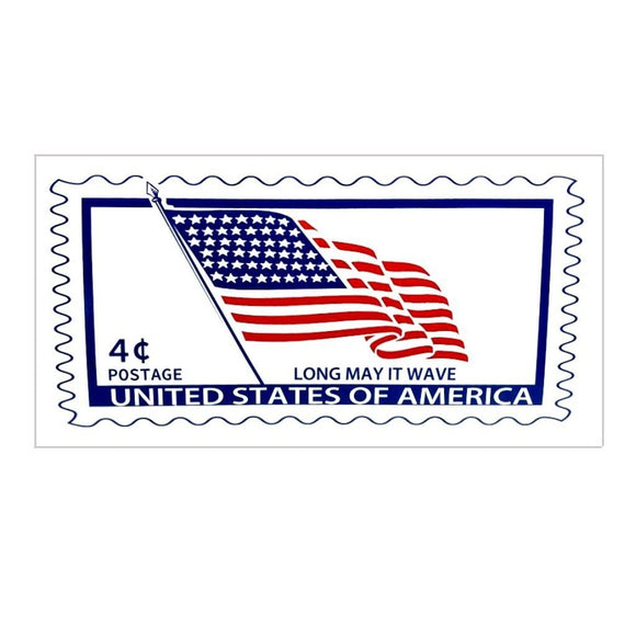 U.S. Postage Stamp Long May It Wave Bumper Sticker - Flag and Cross
