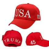 USA Trump 45 Red 100% Cotton Twill Hat - Flag and Cross