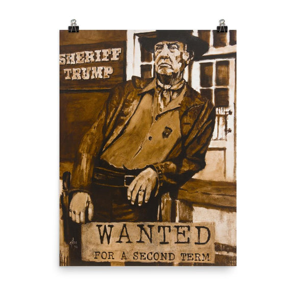 Wanted: For A Second Term Trump Poster - Flag and Cross