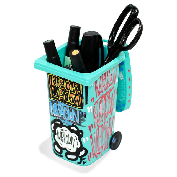 Mini Hand Painted Trashcan Turquoise