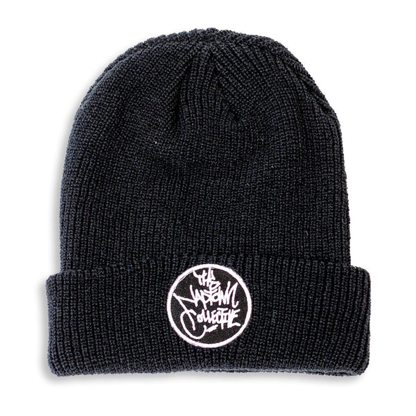 Black Ribbed Cuff Logo Beanie