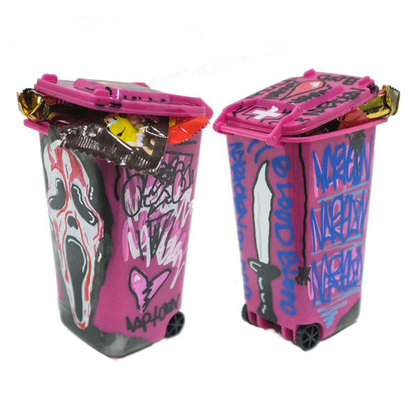 Mini Handpainted Halloween Trashcan Pink