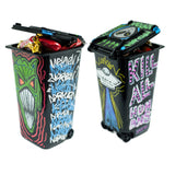 Mini Handpainted Halloween Trashcan Black