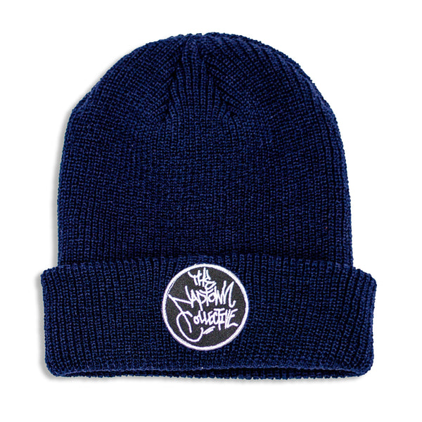 Navy Blue Ribbed Cuff Logo Beanie