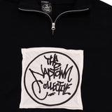 Circle Logo Patch Quarter Zip Sweatshirt Black