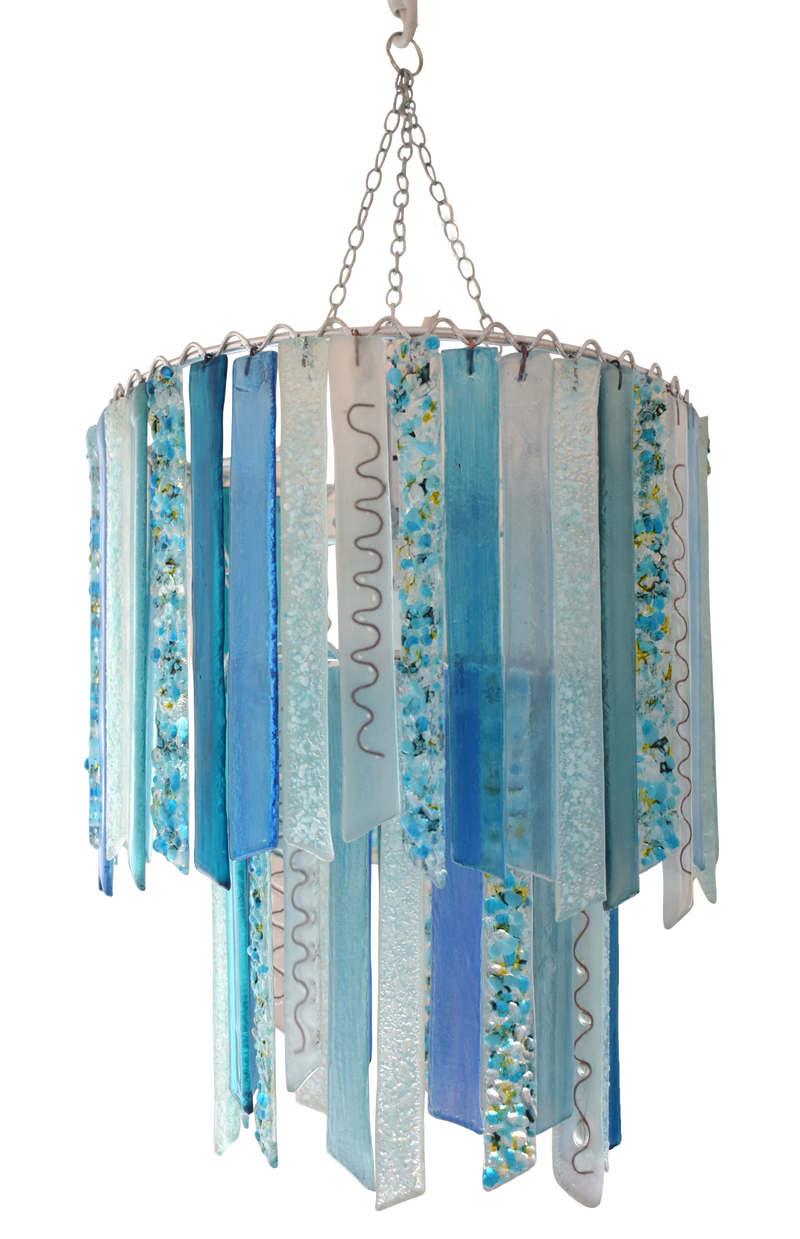 Sky blue handmade recycled glass two tier pendant chandelier lampshade