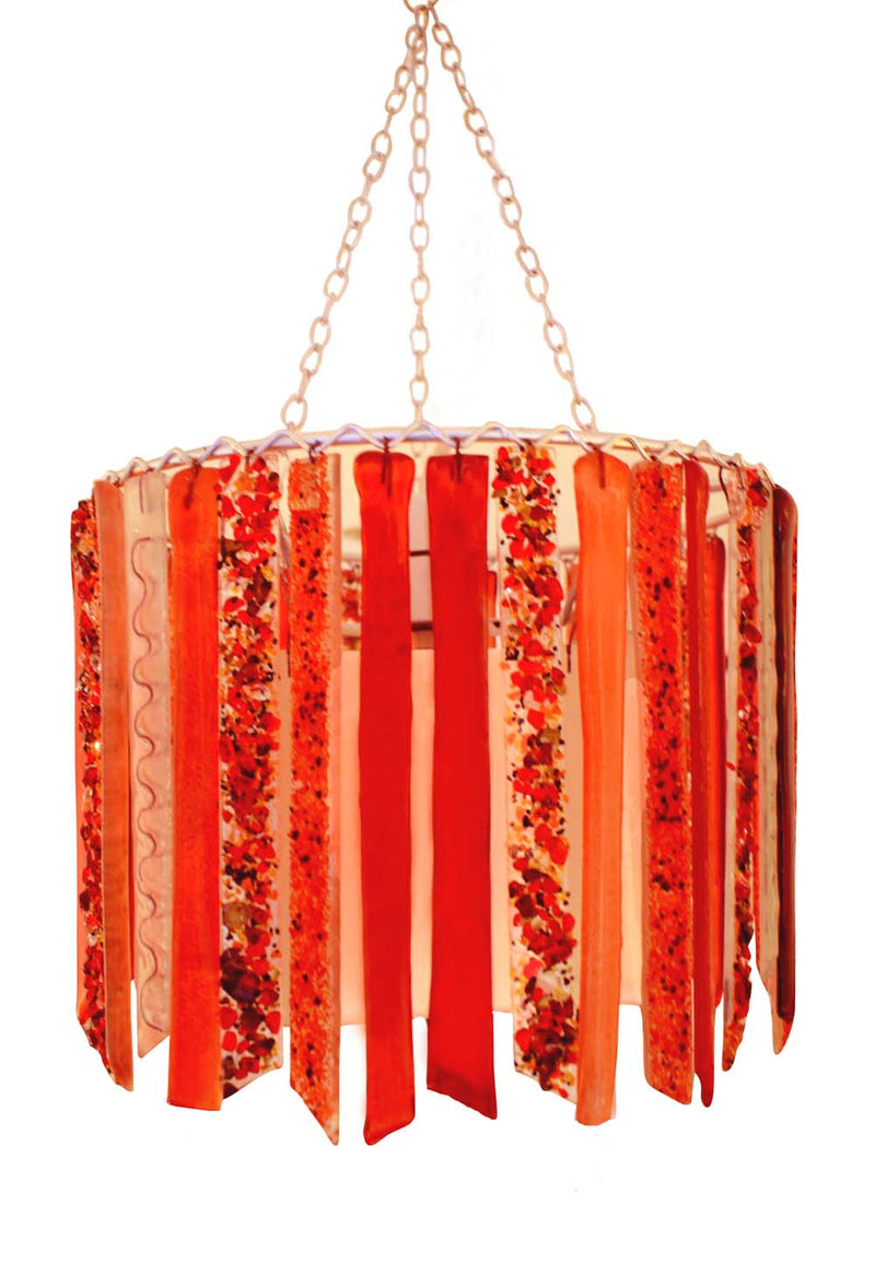 Scarlet Titania recycled glass contemporary chandelier lampshade