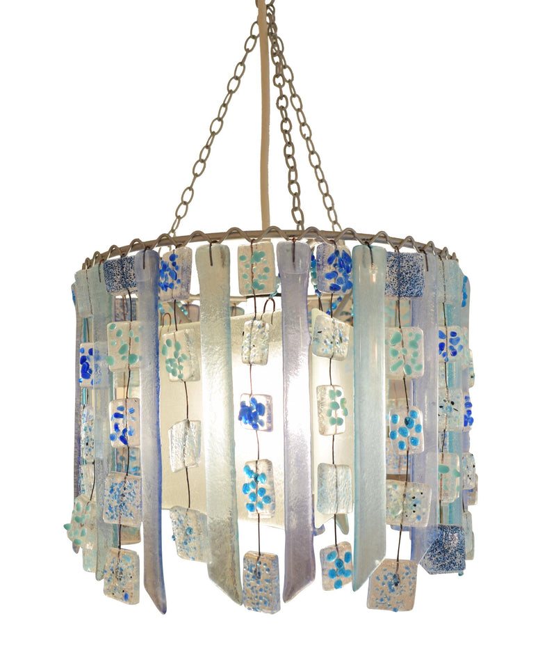 Blue Aqua Daisy Chain recycled glass contemporary chandelier lampshade