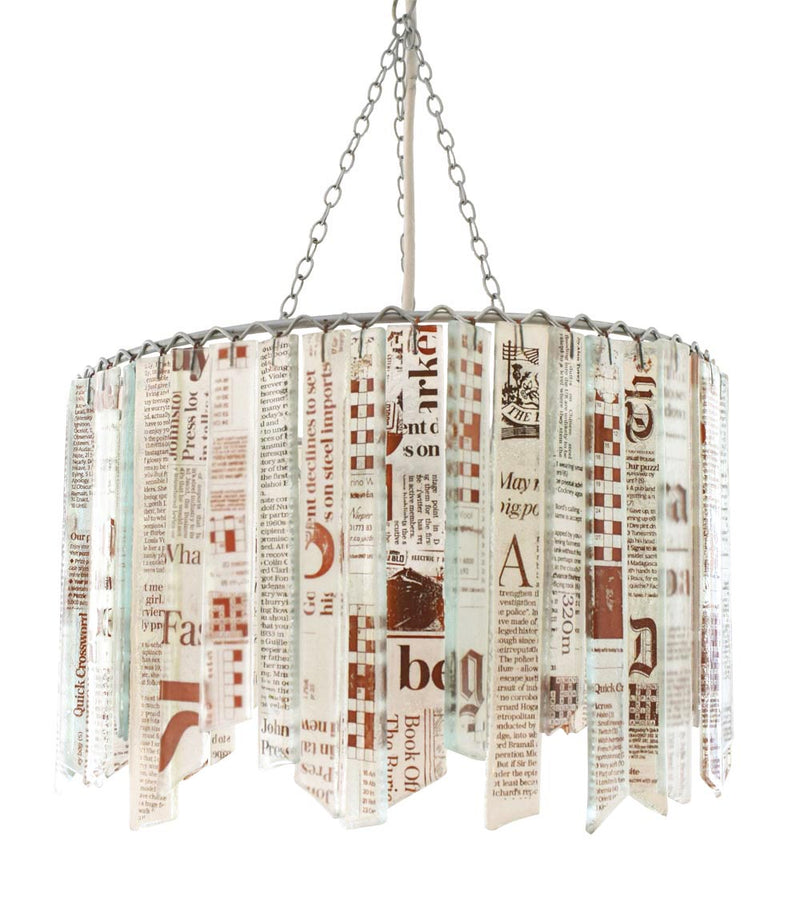 'Newsprint' recycled glass contemporary chandelier lampshade