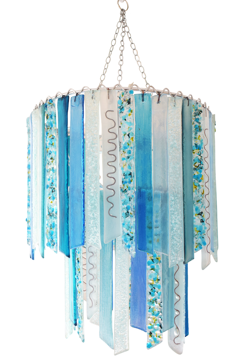 Woodland Green Titania handmade recycled glass two tier pendant chandelier lampshade